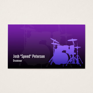 Drummer's Drum Kit Silhouette Violet Business Card