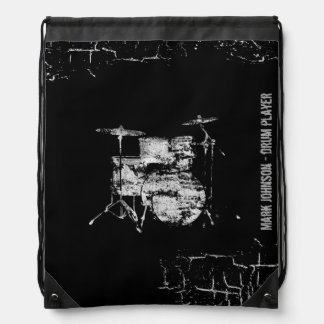 drummers personalized drawstring backpack