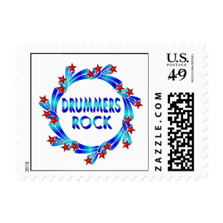 Drummers Rock Red Stars Postage Stamps