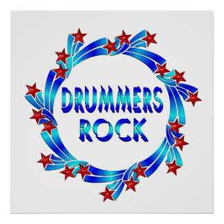 Drummers Rock Red Stars Poster