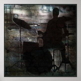 Drumming, Copyright Karen J Williams Poster