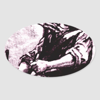 Drumming Lad Oval Sticker