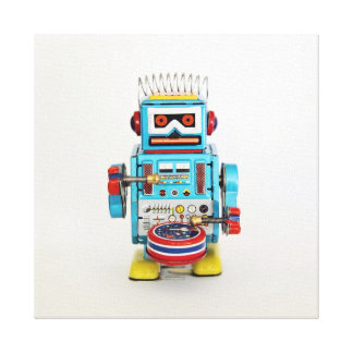 Drumming Robot Gallery Wrap Canvas