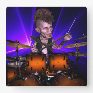 Drumming with Lasers Square Wall Clock