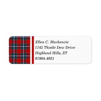 Drummond Clan Bright Red and Sky Blue Tartan Label