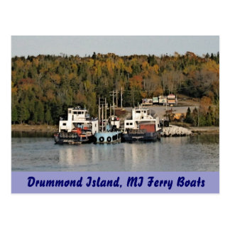 Drummond Island Michigan Ferry Boats Postcard