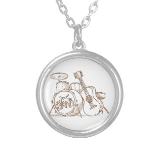 Drums and Guitar Round Pendant Necklace