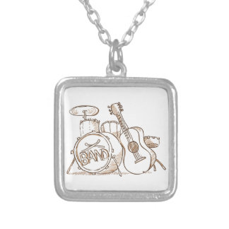 Drums and Guitar Square Pendant Necklace