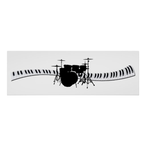 Drums and Piano keyboard banner Print