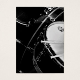 Drums & Drum Sticks on Snare in Black and White Business Card