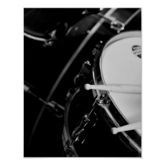 Drums & Drum Sticks on Snare in Black and White Poster