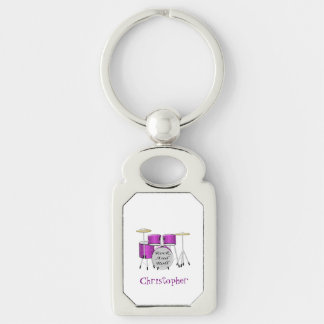 Drums Just Add Name Silver-Colored Rectangular Metal Keychain