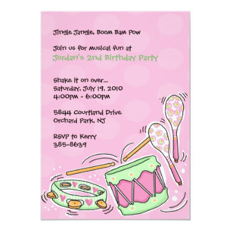 Drums Maracas and Tambourine Invitations: Pink Card
