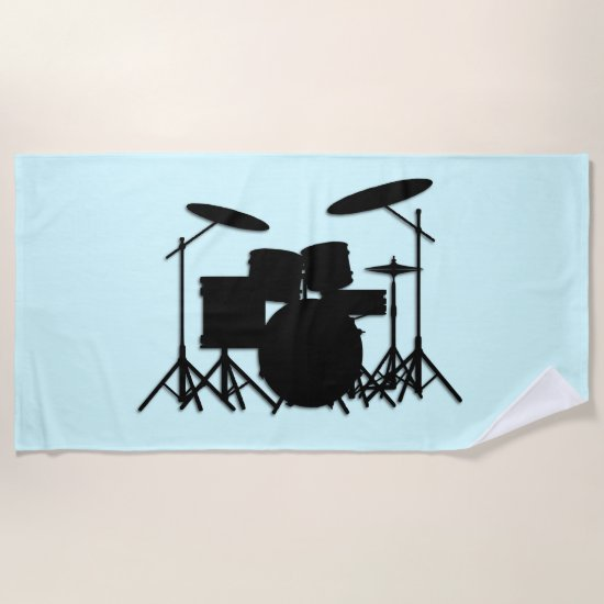 Drums Music Design Blue Beach Towel