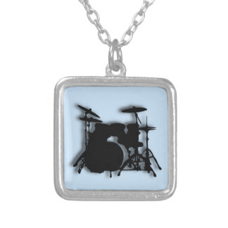 Drums Music Design Square Pendant Necklace