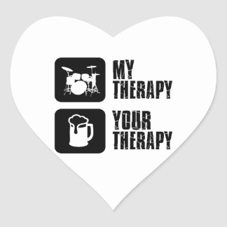Drums my therapy heart stickers