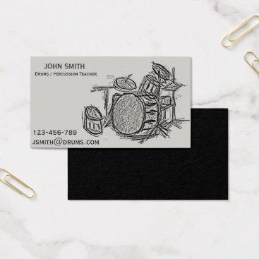 Beach Themed Drums / Percussion teacher Business Card