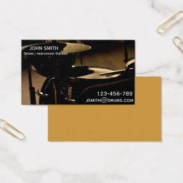 Beach Themed Drums / Percussion Teacher or tutor Business Card