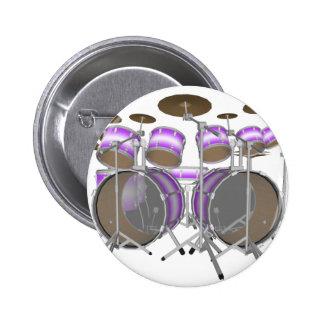 Drums: Purple & White Drum Kit: 3D Model: 2 Inch Round Button