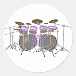 Drums: Purple & White Drum Kit: 3D Model: Classic Round Sticker