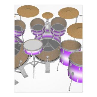 Drums: Purple & White Drum Kit: 3D Model: Flyer