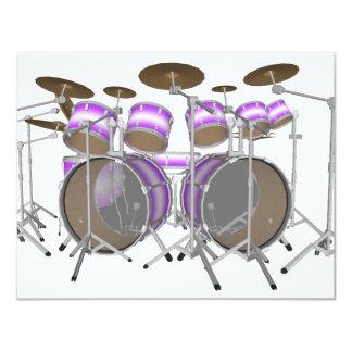 "Drums: Purple & White Drum Kit: 3D Model: 4.25"" X 5.5"" Invitation Card"