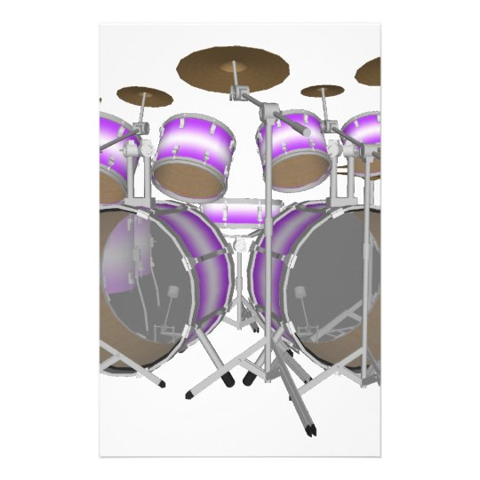 Drums: Purple & White Drum Kit: 3D Model: Stationery