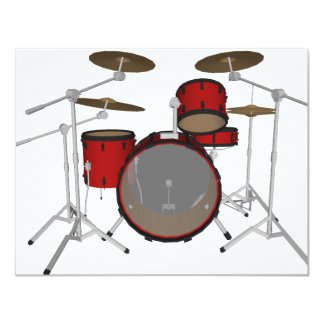 Drums: Red Drum Kit: 3D Model: 4.25x5.5 Paper Invitation Card