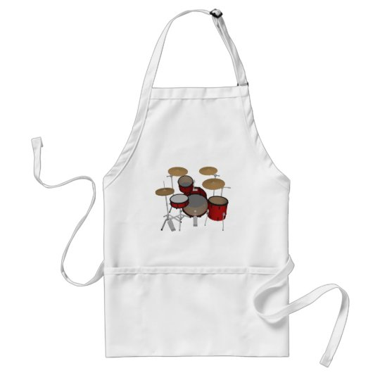 Drums: Red Drum Kit: 3D Model: Adult Apron
