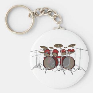 Drums: Red Drum Kit: 3D Model: Basic Round Button Keychain