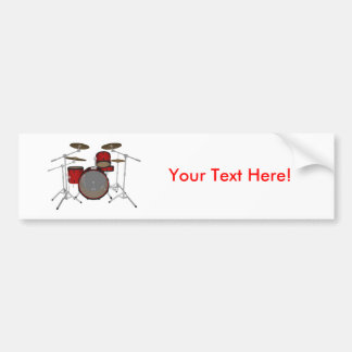 Drums: Red Drum Kit: 3D Model: Car Bumper Sticker