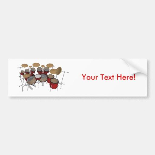 Drums: Red Drum Kit: 3D Model: Bumper Stickers