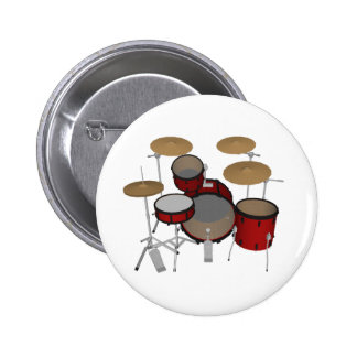 Drums: Red Drum Kit: 3D Model: 2 Inch Round Button
