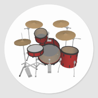 Drums: Red Drum Kit: 3D Model: Classic Round Sticker