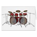 Drums: Red Drum Kit: 3D Model: Greeting Cards
