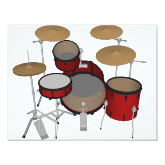"Drums: Red Drum Kit: 3D Model: 4.25"" X 5.5"" Invitation Card"