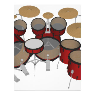 Drums: Red Drum Kit: 3D Model: Letterhead Template