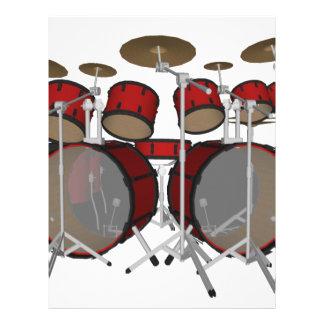 Drums: Red Drum Kit: 3D Model: Letterhead Design