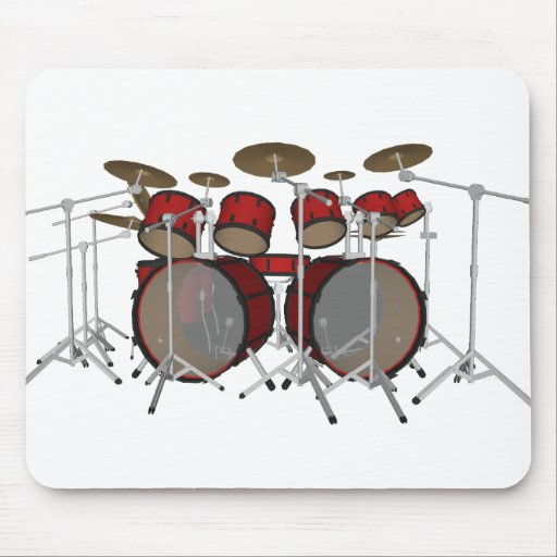 Drums: Red Drum Kit: 3D Model: Mousepads