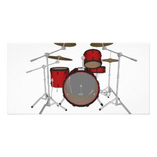 Drums: Red Drum Kit: 3D Model: Photo Card