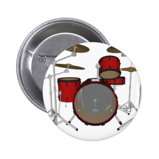 Drums: Red Drum Kit: 3D Model: Pinback Button