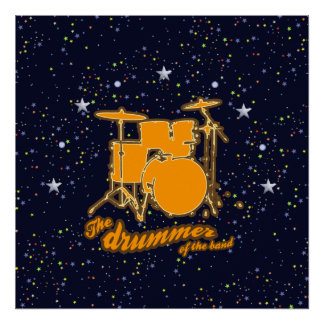 drums & starry night sky poster