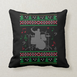Drums Ugly Christmas Throw Pillow