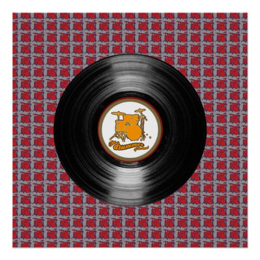 Drums vinyl record decor walls poster zazzle for Vinyl records decorations for wall