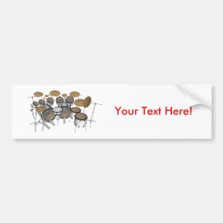 Drums: White Drum Kit: 3D Model: Car Bumper Sticker