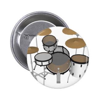 Drums: White Drum Kit: 3D Model: 2 Inch Round Button