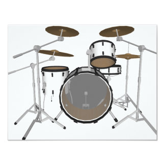 Drums: White Drum Kit: 3D Model: Card