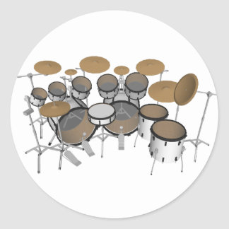 Drums: White Drum Kit: 3D Model: Classic Round Sticker