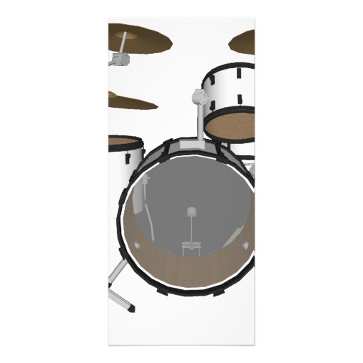 Drums: White Drum Kit: 3D Model: Custom Rack Cards