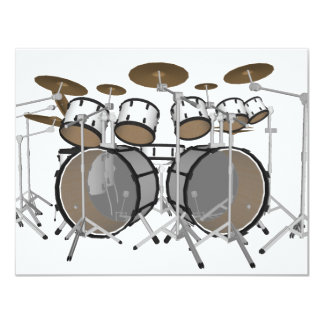 "Drums: White Drum Kit: 3D Model: 4.25"" X 5.5"" Invitation Card"
